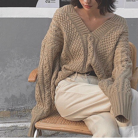 ■再販■2color : Keyneck Aran Knit 90158 送料無料