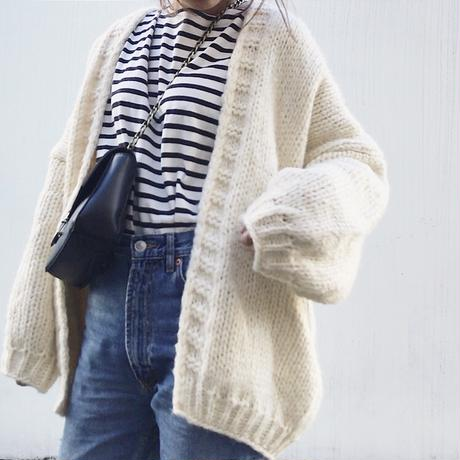 2color:Over Hand Knit Cardigan 送料無料