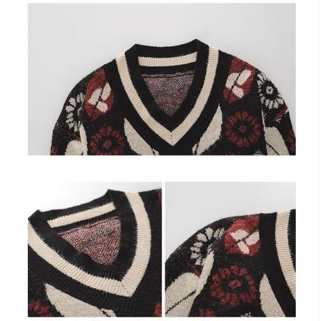 Retro Flower Vneck Vintage Knit 153 送料無料