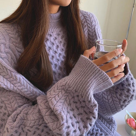 2color : Bottleneck Cable Over Knit 90262 送料無料