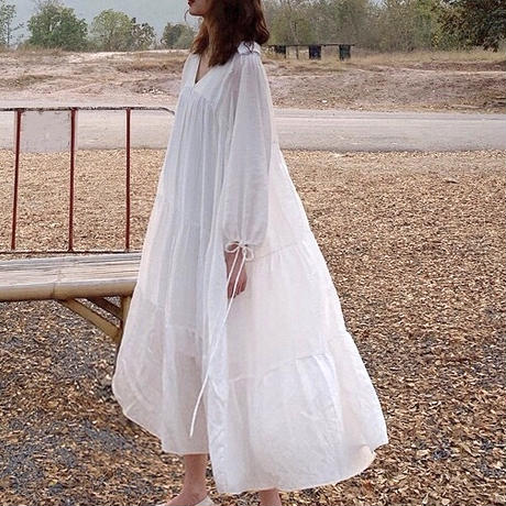 2color:Vneck Tiered Long Dress 送料無料
