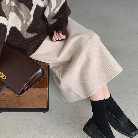 3color : Wool blend Rib Knit Skirt 90275 送料無料