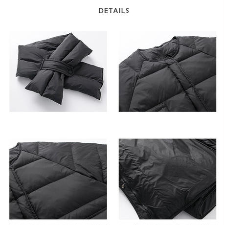 2color : Down90% / Muffler set Collarless Down Jacket 90258   送料無料