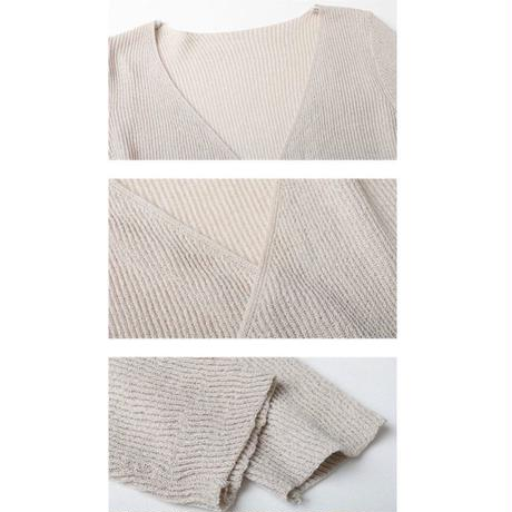 6color:Cache-coeur Cotton Knit Tops 127 送料無料