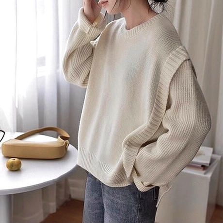 2color : Layered Design Knit 90266 送料無料