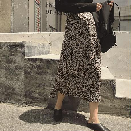 Leopard   Long Tight flare Skirt 送料無料