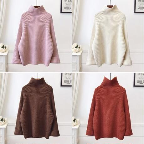 4color:Wide Sleeve High neck Volume Knit  13 送料無料