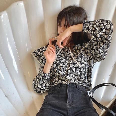 Monotone Daisy Big Collar Shirts 90298 送料無料