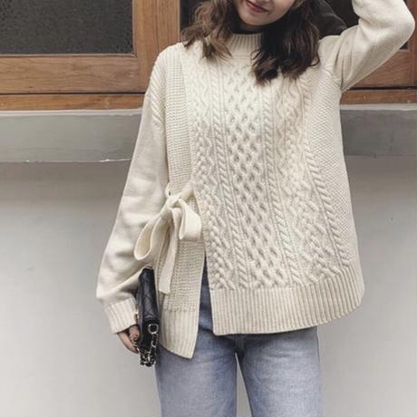 2color:Waist Tie Cable Knit 送料無料
