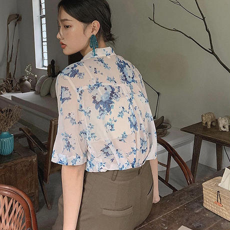 Antique Flower Sheer Shirts  90209 送料無料