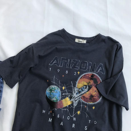 Used like Space Design Print T-shirts 90217   送料無料