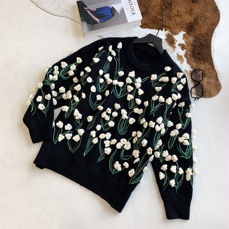 Lily of the valley Embroidery 3D Knit 90276 送料無料