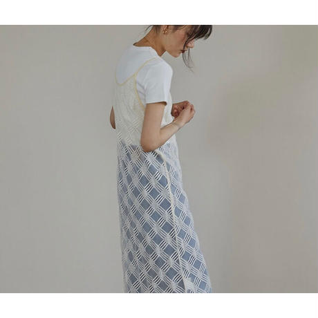 Diagonal Check  Sheer Camisole Dress 90299 送料無料