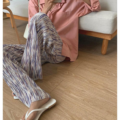 Ink Stripe  Pattern Pleats Long Pants 90306 送料無料