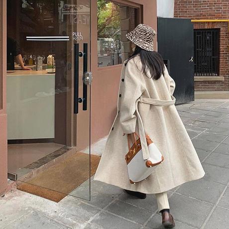 《Oatmeal》Soutien Collar Wool Coat 90260 送料無料