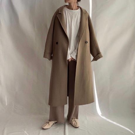 ■再販■【Sサイズ追加!】3color : Wool 100% Hand made Long Coat 90148  送料無料