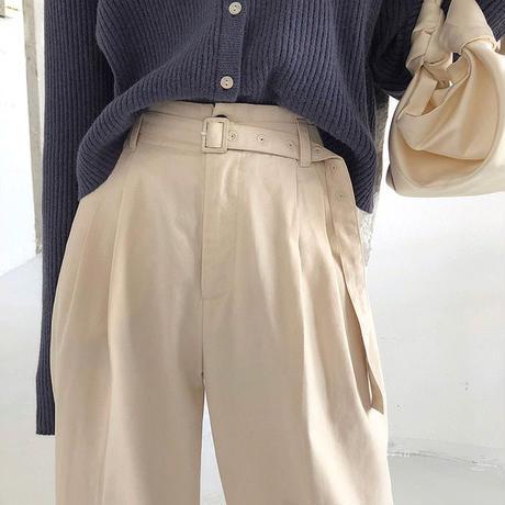 【即納】3color : Belt Doubletuck Pants  186 送料無料