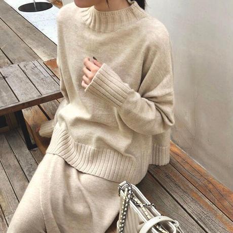 3color:Wrap skirt Mockneck Knit Set up 送料無料