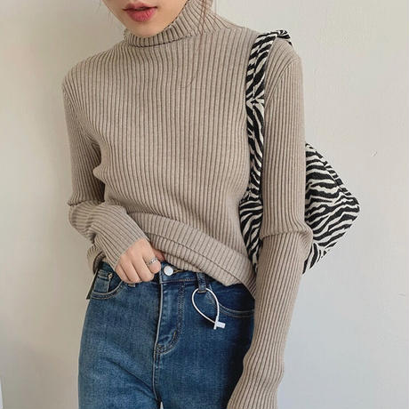 8color : Woolblend Highneck Rib Knit 90271 送料無料