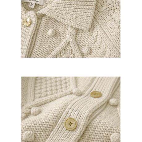 "2color : ""PON PON "" Collar Knit Cardigan 90252 送料無料"