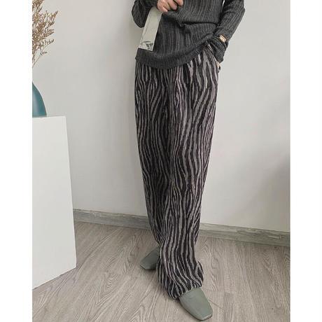 3color : Zebra Pattern Pleats Long Pants 90236 送料無料