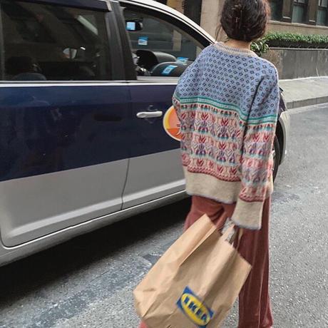 ◾️再販◾️2color : Vintage like Retro Pattern Knit 90283 送料無料