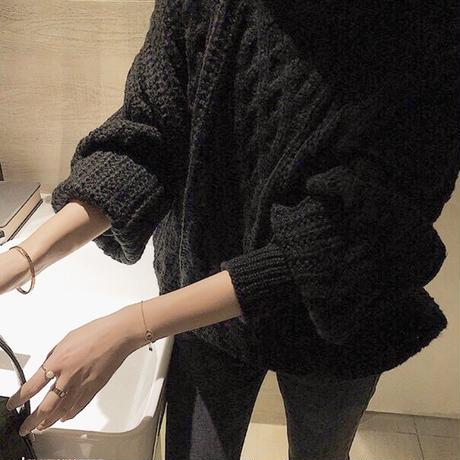 Black Low Gauge Cable Knit  送料無料