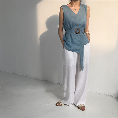 5color:Linen Asymmetry WoodBelt Tops 22    送料無料