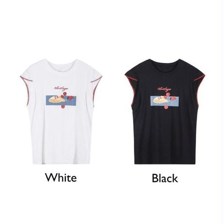 2color: Design French sleeve Art T-shirts 90204   送料無料