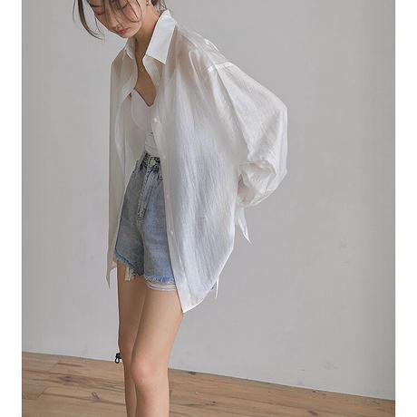 ■再販■3color : Back  Open Sheer Shirts 90187 送料無料