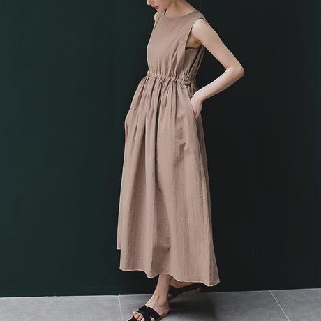 Cotton Linen Drawstring Long Dress 送料無料
