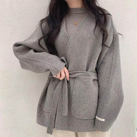 2color : Wool 80% Hand made Collarless Coat ~リバー仕立て~ 90238  送料無料