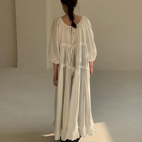 Many way Cotton Linen Back Tie Gather Dress 185 送料無料