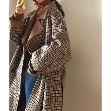 Wool 80% Hand made Checked Long Coat 147 送料無料
