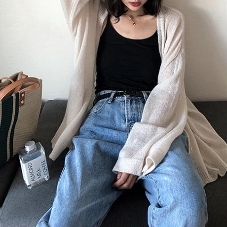 2color:Flare Sleeve Light Knit Cardigan 49 送料無料