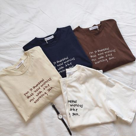 4color : Embroidery Handwriting Logo T  送料無料