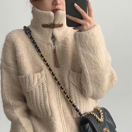 【即納】 Cable Big Pocket Zip up Knit 90250 送料無料