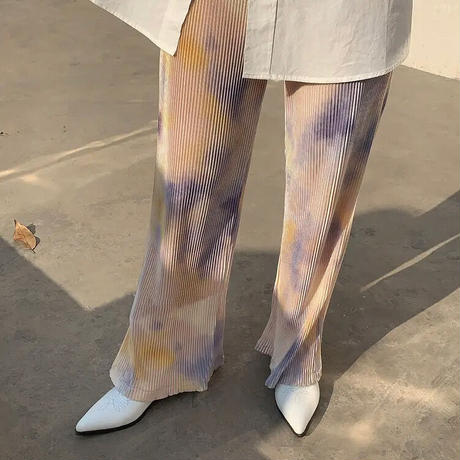 2color : Color Tie-dye Pattern Pleats Long Pants 90297 送料無料