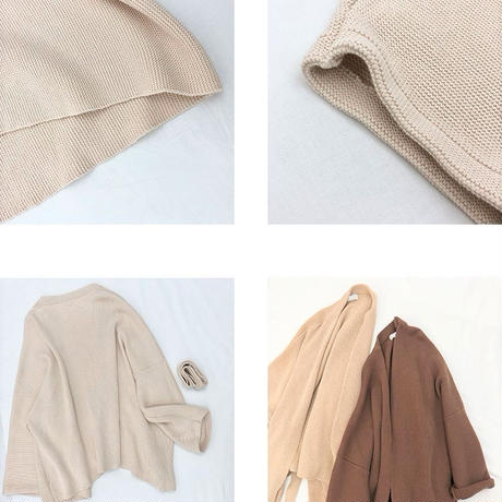 3color Loose Cotton Knit Gown 送料無料