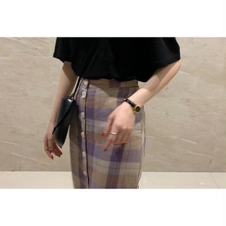 再入荷【即納】Linen Frontbutton Checked Skirt 送料無料