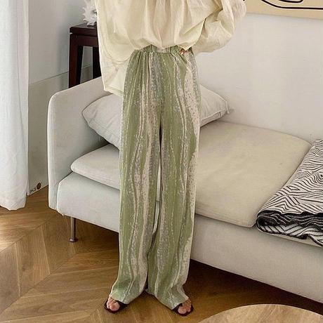 3color : Wave Pattern Pleats Long Pants  215 送料無料