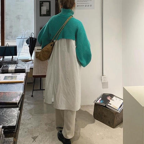 2color : Balloon sleeve Turtle neck Half Knit 90246 送料無料