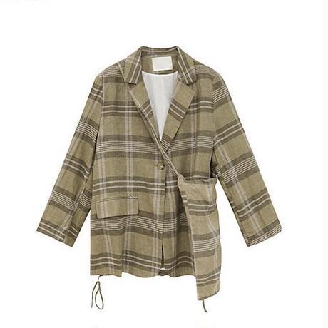 Linen 100% Check Jacket  & Sacoche 179 送料無料