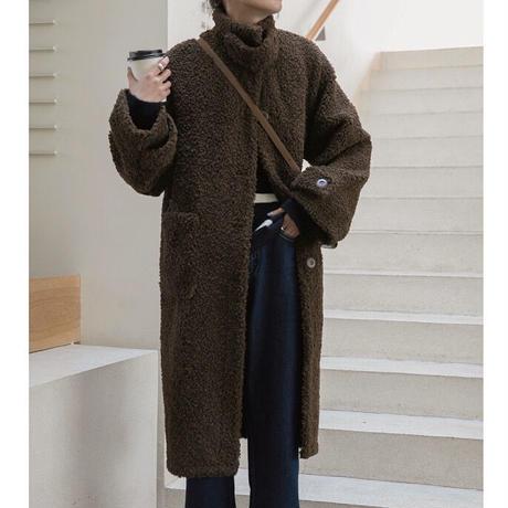 2color : Stand collar Boa Long Coat 90249  送料無料