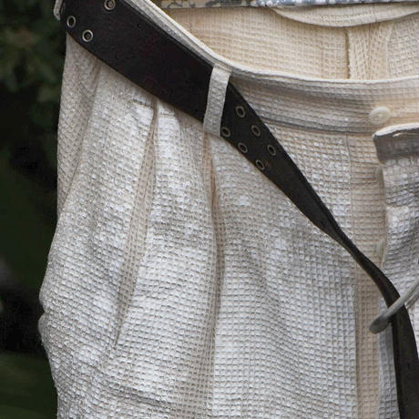"Jobi fret roop ""milky dye contrast painted slacks trouser"" with vintage leather belt"