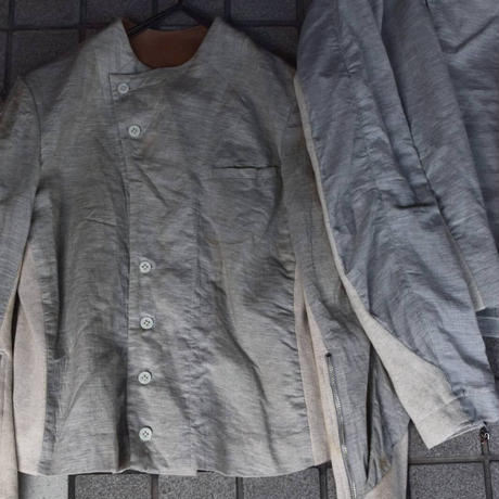 "Jobi fret roop ""gray cutsew shirt jacket blouson"""