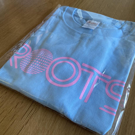 ROOTS T-shirts [Light blue × Pink]