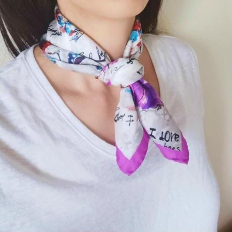 バルサンティ イタリア製  コモシルクスカーフ  バレリーナ バイオレット 小判 50x50
