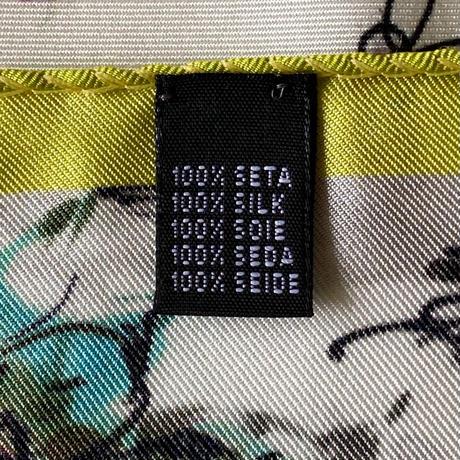 バルサンティ イタリア製  コモシルクスカーフ  バレリーナ イエローグリーン 小判 50x50