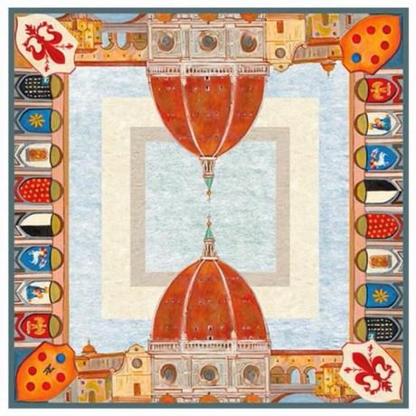 バルサンティ イタリア製 コモシルクスカーフ ブルー クーポラ 大判 85x85
